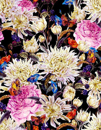 fashion illustration: Vintage Watercolor Floral Seamless Background  with Chrysanthemums, Roses, Wild Flowers and Butterflies. Watercolor Illustration