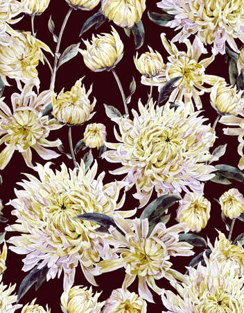 the season of romance: Vintage Watercolor Floral Seamless Background  with Chrysanthemums. Watercolor Illustration