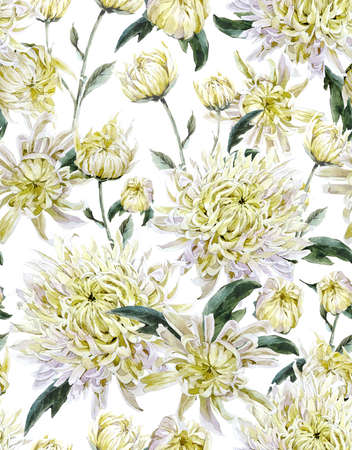Vintage Watercolor Floral Seamless Background  with Chrysanthemums. Watercolor Illustration