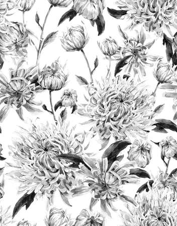 Seamless Monochrome Vintage Watercolor Floral Background  with Chrysanthemums. Watercolor Illustration