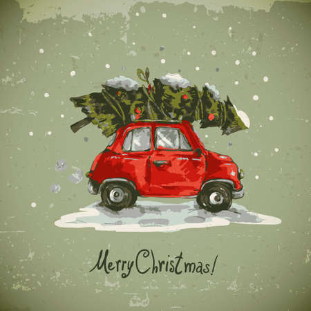 vintage postcard: Winter greeting card with red retro car, Christmas tree, Vintage vector Merry Christmas and Happy New Year illustration
