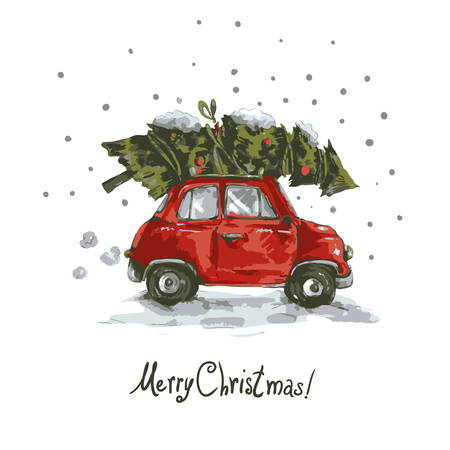 postcard vintage: Winter greeting card with red retro car, Christmas tree, Vintage vector Merry Christmas and Happy New Year illustration