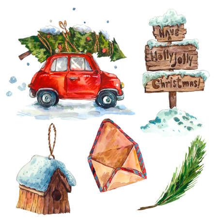 Watercolor vintage Merry Christmas and Happy New Year set isolated on white background, Snow sign Retro car Christmas tree Birdhouse Envelope Branch, holiday illustration Stock fotó