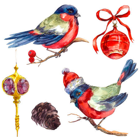 bullfinch: Watercolor vintage Merry Christmas and Happy New Year set isolated on white background, Bullfinch Rowan Christmas balls Pine cone, holiday illustration