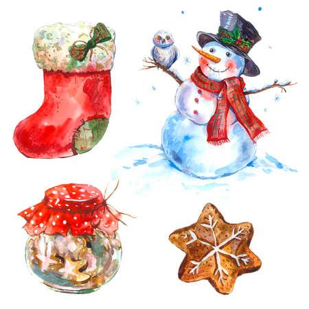 bonhomme de neige: Aquarelle vintage Joyeux No�l et Bonne Ann�e ensemble isol� sur fond blanc, de pain d'�pice de No�l d�marrage, Bonhomme de neige, hibou, cookies, illustration jour f�ri�