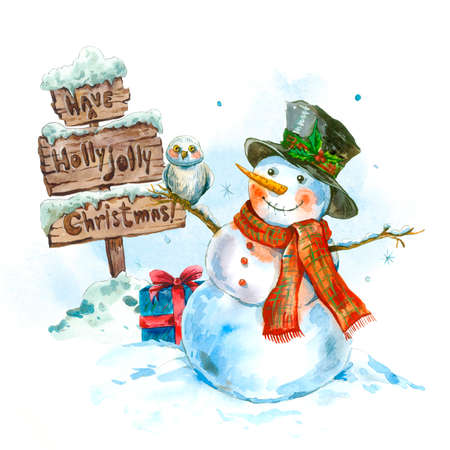 cartoon hat: Winter watercolor greeting card with snowman, owl and a snow wooden sign, Vintage Merry Christmas and Happy New Year illustration