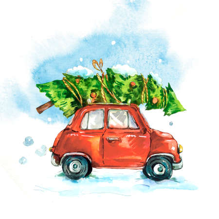 Winter watercolor greeting card with red retro car, Christmas tree, Vintage Merry Christmas and Happy New Year illustration