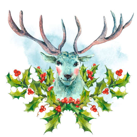 Watercolor greeting card, Snow white deer with Holly, Vintage Merry Christmas and Happy New Year illustration.