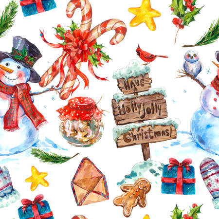 candy border: Watercolor Christmas seamless pattern with snowman, owl, wooden sign, pine, biscuits, sweets candy and holly.  Vintage Merry Christmas and Happy New Year illustration