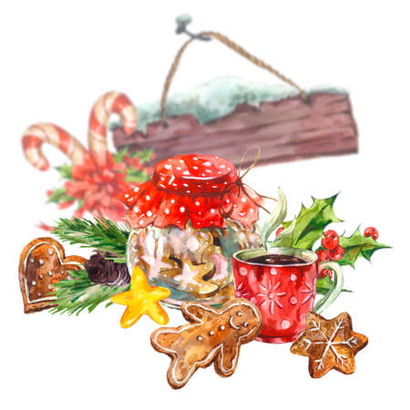 Watercolor Christmas greeting card with cookies, candy, cup of tea, gingerbread, pine cones and holly, holiday illustration. Stock Photo