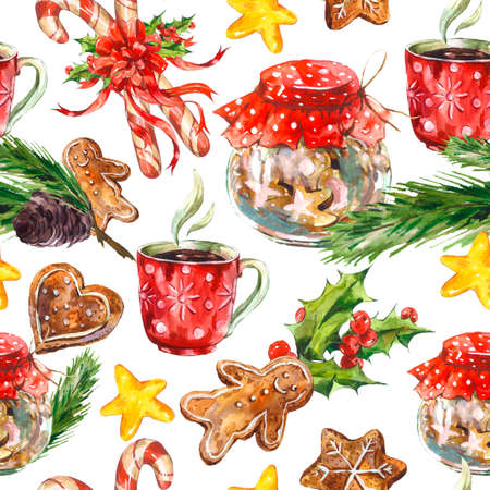 Watercolor Christmas seamless pattern with cookies, candy, cup of tea, gingerbread, pine cones and holly, holiday illustration.