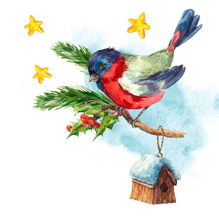 Watercolor vintage Merry Christmas and Happy New Year greeting card with Bullfinch Rowan Holly Pine cone, holiday illustration on white background.