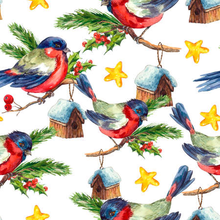 white winter: Watercolor vintage Merry Christmas and Happy New Year seamless pattern with Bullfinch Rowan Holly Pine cone, holiday illustration on white background.