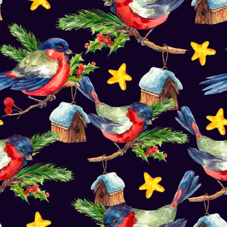 rowan: Watercolor vintage Merry Christmas and Happy New Year seamless pattern with Bullfinch Rowan Holly Pine cone, holiday illustration on white background.