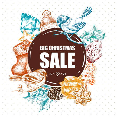 holly day: Big Christmas Sale, Vintage vector Merry Christmas and Happy New Year illustration, Envelope Bullfinches, Mittens Jam Sock Gingerbread Pine cones and Holly Illustration