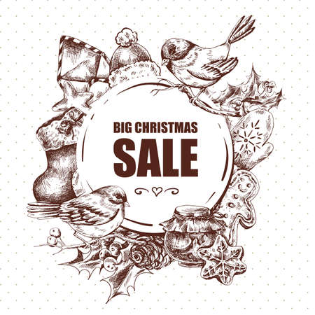 vintage drawing: Big Christmas Sale, Vintage vector Merry Christmas and Happy New Year illustration, Envelope Bullfinches, Mittens Jam Sock Gingerbread Pine cones and Holly Illustration