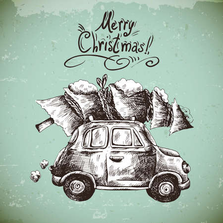 Winter hand drawn greeting card with retro car, Christmas tree, Vintage vector Merry Christmas and Happy New Year illustration Vettoriali