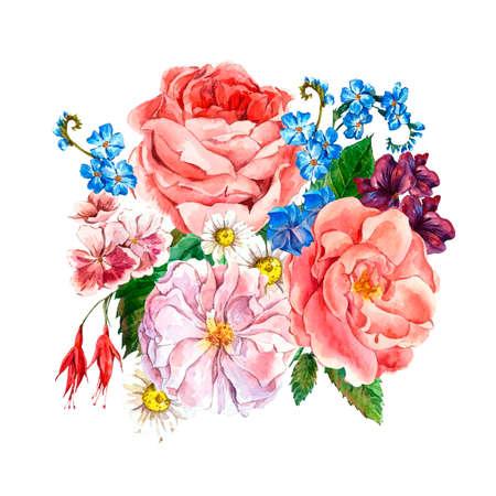 patrones de flores: Pintoresco ramo floral con rosas, margarita blanca y azul de flores silvestres en el estilo vintage, tarjeta de felicitación, ilustración acuarela. Foto de archivo