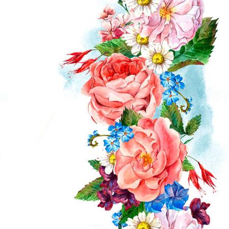 Malerische Nahtlose Grenze mit Blumenstrauß aus Rosen, weißes Gänseblümchen und blaue wilde Blumen im Vintage-Stil, Grußkarte, Aquarellillustration. Standard-Bild