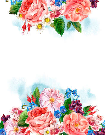 flower meadow: Picturesque Floral Bouquet with Roses, White Daisy and Blue Wild Flowers in Vintage Style, Greeting Card, watercolor illustration. Stock Photo