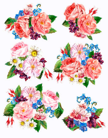 aniversario de boda: Establecer ramo acuarela del vintage de rosas, margaritas y flores silvestres, ejemplo de la acuarela aislada en el fondo blanco Foto de archivo