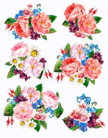 anniversario matrimonio: Impostare annata acquerello mazzo di rose, margherite e fiori di campo, acquerello illustrazione isolato su sfondo bianco