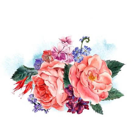 picturesque: Picturesque Floral Bouquet with Roses and Blue Wild Flowers in Vintage Style, Greeting Card, watercolor illustration. Stock Photo