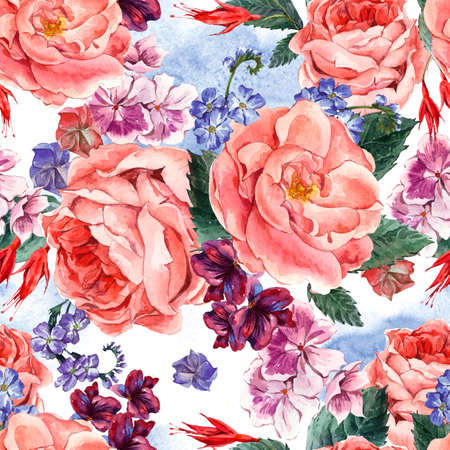 picturesque: Picturesque seamless pattern with Floral Bouquet of Roses, White Daisy and Blue Wild Flowers in Vintage Style, Greeting Card, watercolor illustration.