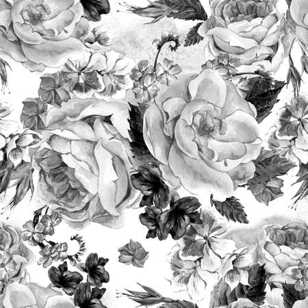 Black and white seamless pattern with Floral Bouquet of Roses, White Daisy and Blue Wild Flowers in Vintage Style, Greeting Card, watercolor illustration. Stock Photo