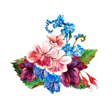 picturesque: Picturesque Floral Bouquet with Wild Flowers in Vintage Style, Greeting Card, watercolor illustration.