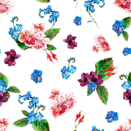 estilo: Modelo inconsútil de la pintoresca con las flores salvajes en estilo de la vendimia, tarjeta de felicitación, ejemplo de la acuarela. Foto de archivo