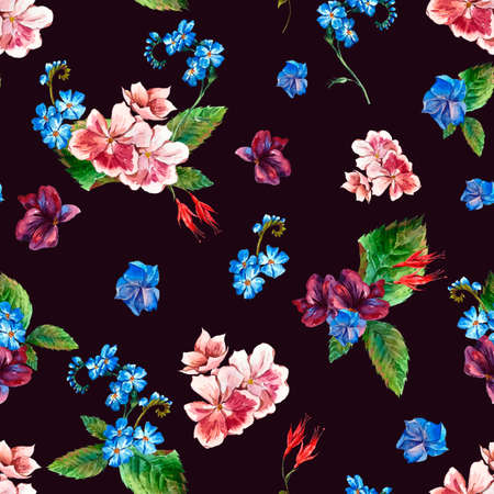 picturesque: Picturesque seamless pattern with Wild Flowers in Vintage Style, Greeting Card, watercolor illustration. Stock Photo