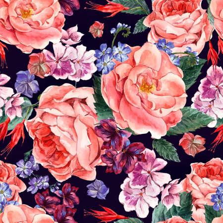 marguerite: Motif pittoresque transparente avec Floral Bouquet de Roses, blanc et bleu Daisy fleurs sauvages en style vintage, cartes de v?ux, illustration d'aquarelle.