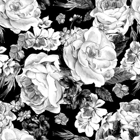 isolated on white: Black and white seamless pattern with Floral Bouquet of Roses, White Daisy and Blue Wild Flowers in Vintage Style, Greeting Card, watercolor illustration. Stock Photo