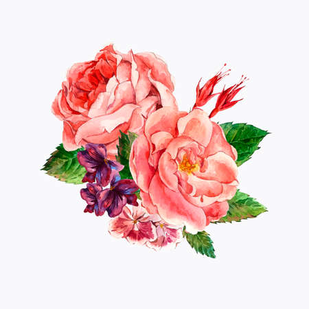 picturesque: Picturesque Floral Bouquet with Roses in Vintage Style, Greeting Card, watercolor illustration.