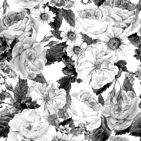 monochrome: Black and white seamless pattern with Floral Bouquet of Roses, White Daisy and Blue Wild Flowers in Vintage Style, Greeting Card, watercolor illustration. Stock Photo