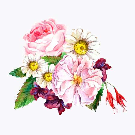 p�querette: Pittoresque Floral Bouquet de roses, Daisy et Blue Fleurs sauvages dans le style vintage, carte de voeux, illustration d'aquarelle.