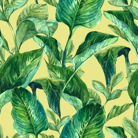 tropical background: Watercolor Seamless Exotic Background with Tropical Leaves, Botanical illustration