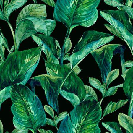 열대 나뭇잎, 식물 그림 수채화 원활한 이국적인 배경 스톡 콘텐츠