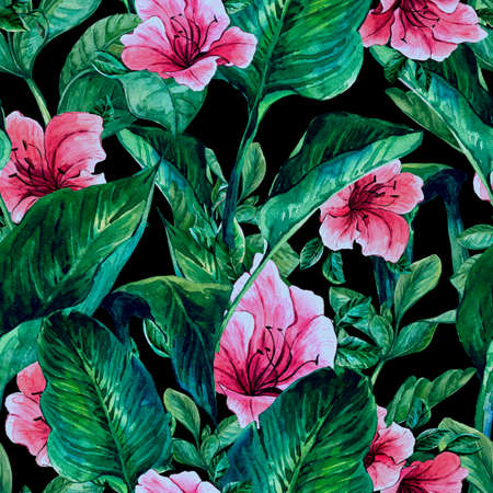 Watercolor Seamless Exotic Background with Tropical Leaves and Hibiscus Flowers, Botanical illustration Stok Fotoğraf
