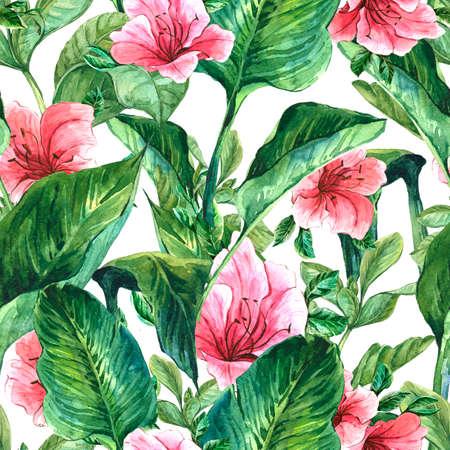 열대 나뭇잎과 히비스커스 꽃, 식물 그림 수채화 원활한 이국적인 배경