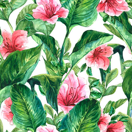 Watercolor Seamless Exotic Background with Tropical Leaves and Hibiscus Flowers, Botanical illustration Archivio Fotografico