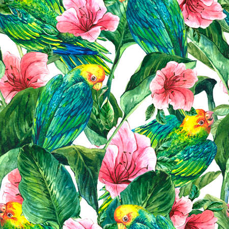Fabric Texture: Watercolor Seamless Exotic Background with Tropical Leaves, Parrots and Hibiscus Flowers, Botanical illustration Stock Photo
