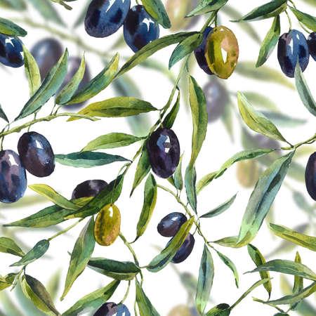 올리브 나무의 가지와 수채화 원활한 패턴, 식물 그림 스톡 콘텐츠