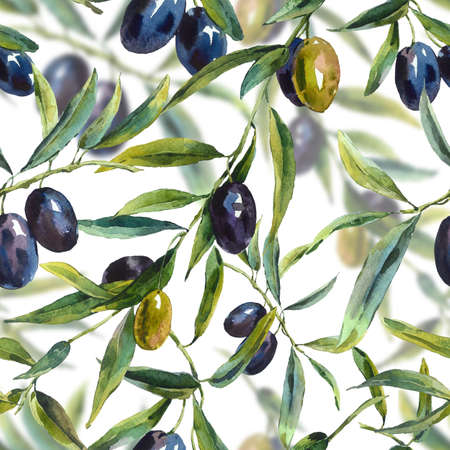 Watercolor seamless pattern with branches of the olive tree, Botanical illustration
