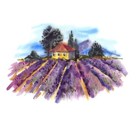 Waterverflandschap met bloeiende paarse lavendel veld