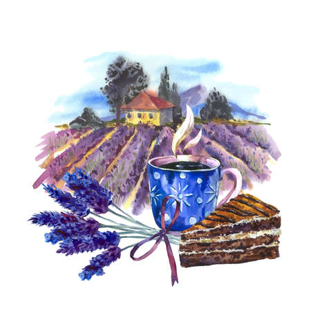 herbs of provence: Watercolor greeting card with blooming violet lavender, cup of tea and tiramisu Stock Photo