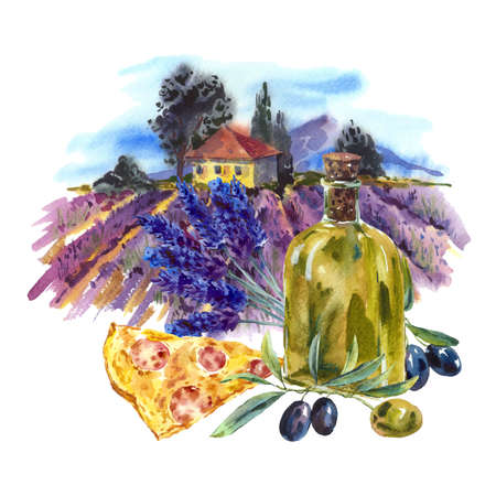 france painted: Watercolor greeting card with violet lavender, olives and pizza