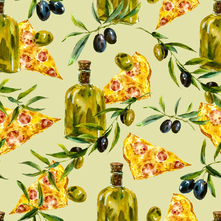 pizza ingredients: Watercolor seamless pattern with branches and olive oil, slice of pizza