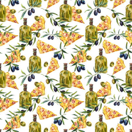 culinary tourism: Watercolor seamless pattern with branches and olive oil, slice of pizza